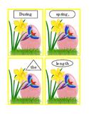 Spring Easter Egg Daffodil Parrot Task Cards Sentence Cut Paste Match Shapes 7pg