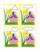 Spring Easter Egg Daffodil Parrot Task Cards Sentence Cut Paste Match Shapes 7pg