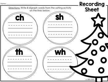 Winter Christmas Tree Digraph Sort Activity ch sh th wh