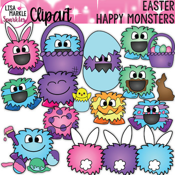 Spring Easter Happy Monster Clipart