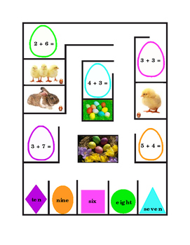 Spring Easter Math Addition Numbers Up to 10 Game Maze Matching Fun-Stuff 1page