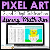 Spring / Easter Math Pixel Art for Google Sheets™ - 2 & 3 Digit Subtraction