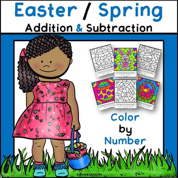 Spring / Easter Math / Two Digit Addition & Subtraction Color by Number