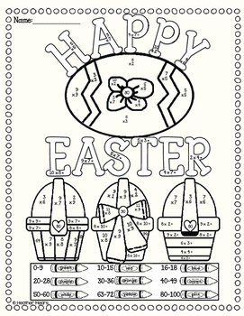 photograph relating to Color by Number Easter Printable identified as Easter Multiplication Shade By means of Amount Worksheets Coaching