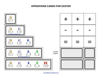 Spring Easter Rabbits operations cards prek primary math addition subtraction