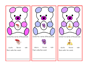 Spring Easter Task-Cards Bear Read Writing Words Pictures Rain Flower Ducks 1p