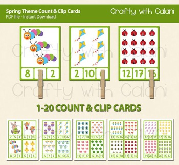 Spring & Easter Theme Count and Clip Cards - numbers 1 - 20
