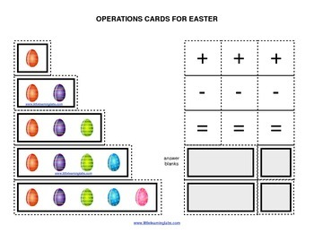 Spring Easter Egg Theme operations cards prek primary math addition subtraction