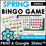 Spring & Easter Vocabulary   Bingo Game   Print & Digital BUNDLE