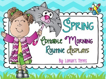 Spring Editable Morning Routine Displays St. Patrick's Day, Easter, Spring