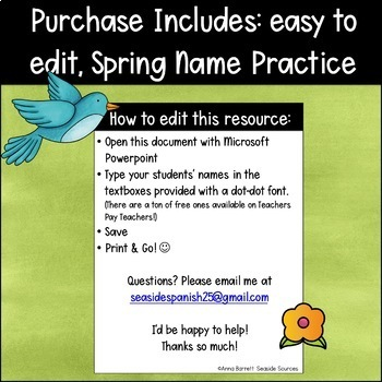 Spring Editable Name Tracing Practice