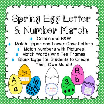 Spring Egg Alphabet and Number Match