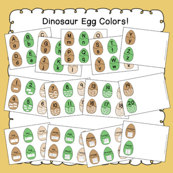 Dinosaur Egg Alphabet and Number Match