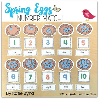 Spring Eggs Number Match center activity