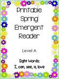 Spring Emergent Reader - Level A Printable booklet