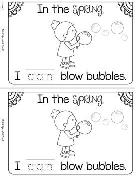Spring Sight Word Book - Leveled Mini-book Prek, Kindergarten, Preschool, Pre-K