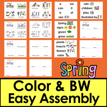 Spring Activities Mini Books 3 Levels + Illustrated Word Wall - Differentiate!