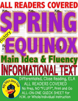 Spring, Equinox FACTS Close Read 5 Levels Differentiated passages Print-N-Go