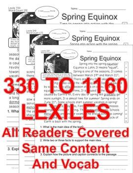 Spring & Equinox FACTS CLOSE READ 5 LEVEL PASSAGES Main Idea Fluency Check TDQs
