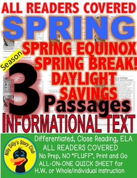 Spring Equinox Spring Break Daylight Savings CLOSE READING 5 LEVEL PASSAGES!