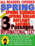 Spring Break, Spring Equinox, Daylight Savings, CLOSE READING 5 LEVEL PASSAGES!