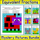 Equivalent Fractions Mystery Pictures Worksheets - Spring Math Activities
