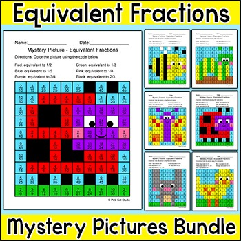 Summer Activities Equivalent Fractions Mystery Pictures Bundle