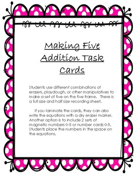 Spring Erasers: Making 5 Addition Cards