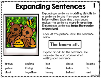 Spring Expanding Sentences for Kindergarten and 1st Grade