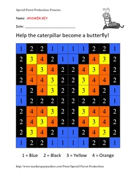 Spring FREE - Butterfly - Color By Numbers!
