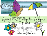 Spring FREE Clip Art - Color and Line Art 8 pc set