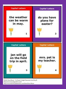 Spring Capitalization Task Cards