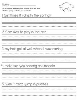 Spring FREE Sentence Editing Practice Sample Set!