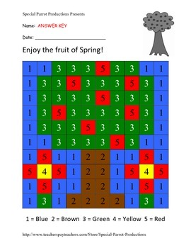 Spring FREE - Apple Tree - Color By Numbers!