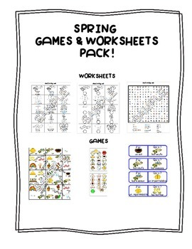 Spring FRENCH Games & Worksheets Package