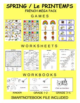 Spring FRENCH MEGA Pack (games,worksheets,workbooks,SmartNotebook)