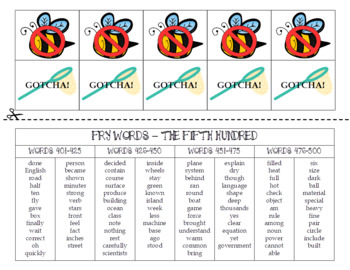 Spring FRY Sight Words Extension Pack (words 401-500)