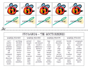 Spring FRY Sight Words Extension Pack (words 501-600)