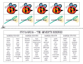 Spring FRY Sight Words Extension Pack (words 601-700)
