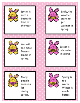 Spring Fact and Opinion Sort