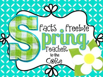 Spring Facts Freebie: Math Facts, Springtime Facts, and Writing Facts