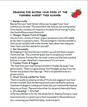 Nutrition-Summer Farmers Market-Produce Stand-activities