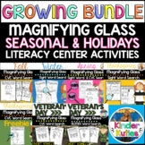NO PREP Magnifying Glass Literacy Center: Spring, Fall, & Winter Sight Words+CVC