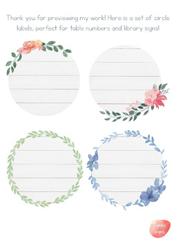Spring Farmhouse Theme Circle Labels [Editable]