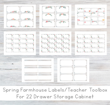Spring Farmhouse Theme Teacher Toolbox Labels WOODWALL - 22 Drawer [EDITABLE]