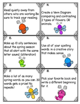Spring Fast Finisher Task Cards-Language Arts