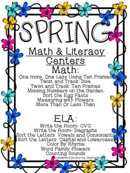 Spring Kindergarten Math and Literacy Centers