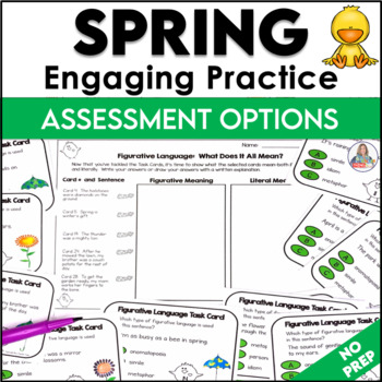 Spring Activity Figurative Language Task Cards and Sort Cards
