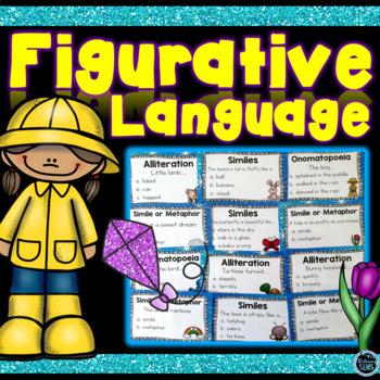 Spring Figurative Language Task Cards - Similes, Metaphors, Alliteration & More