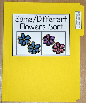 "Spring File Folder Game--""Same and Different Flowers Sort"""